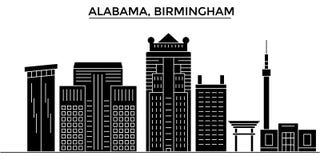 США, Алабама Горизонт города вектора архитектуры Бирмингема, городской пейзаж перемещения с ориентир ориентирами, зданиями, изоли иллюстрация штока