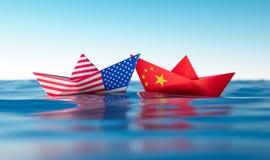 США Америки и китайских бумажных шлюпок иллюстрация вектора