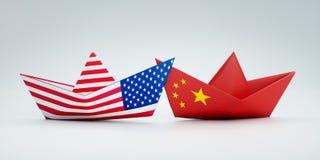 США Америки и китайских бумажных шлюпок бесплатная иллюстрация