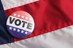 США голосуя Pin на флаге Стоковые Фотографии RF