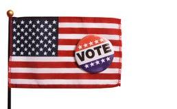 США голосуя Pin на флаге Стоковая Фотография RF