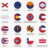 США заявляют флаги Стоковые Изображения