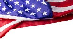 США или американский флаг изолированные на белой предпосылке стоковое фото rf