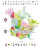 США и Канада детализировали политическую карту с флагами и навигацией Стоковое фото RF