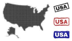 США и карта Аляски в стиле точки полутонового изображения с печатями названия Grunge иллюстрация штока