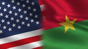США и флаги половины Буркина Фасо реалистические совместно иллюстрация штока