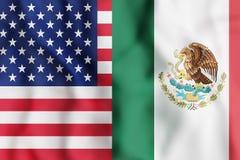 США и флаги Мексики иллюстрация вектора