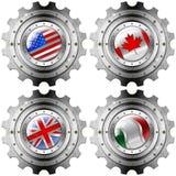 США Канада Великобритания Италия зацепляют флаги металла Стоковые Изображения RF