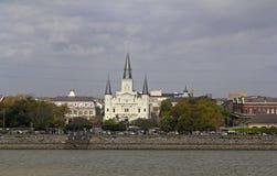США, Луизиана, Новый Орлеан - река Миссисипи, собор StLouis Стоковое Изображение RF