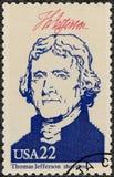 США - 1986: показывает портрету Томас Джефферсон 1743-1826, президенты серии США Стоковая Фотография