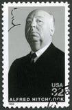 США - 1998: показывает портрет господина Альфреда Иосиф Hitchcock (1899-1980), сказаний серии Голливуда Стоковое Фото