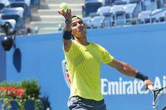 США раскрывают 2013 чемпиона Рафаэль Nadal во время финального матча против Novak Djokovic Стоковая Фотография
