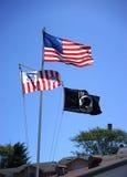 США, служба береговой охраны и флаги MIA стоковая фотография rf