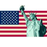США с флагом статуи свободы Стоковая Фотография