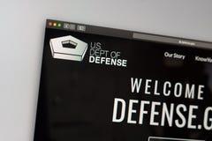 США Dept домашней страницы вебсайта обороны Закройте вверх логотипа Пентагона стоковые изображения