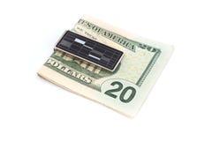США Dolars на зажиме денег Стоковые Изображения RF