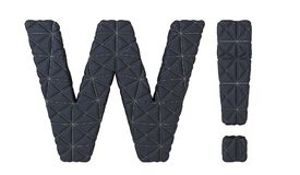 Сшитые кожаные письмо w шрифта и метка вау Стоковые Фотографии RF