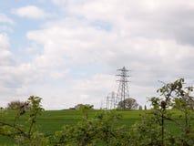 Съемка далекого зеленого цвета поля и с несколько выровнялась вверх по electri Стоковые Фото