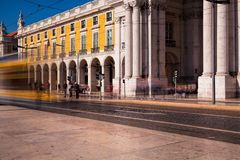 Съемка долгой выдержки Коммерция квадратное Praca делает Comercio стоковая фотография