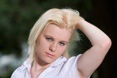 съемка женщины стороны голубых глазов Стоковое Изображение