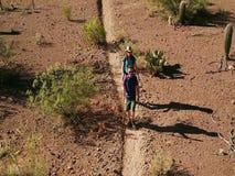 Съемка замедленного движения воздушная Hikers пустыни на изрезанном следе акции видеоматериалы