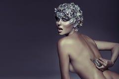 Съемка искусства silver-haired женщины стоковое фото rf