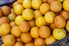 Съемка конца-вверх для множественного апельсина покрасила апельсины на пластичной коробке стоковые фото