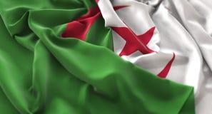 Съемка конца-Вверх макроса Алжира раздражанная флагом красиво развевая стоковая фотография
