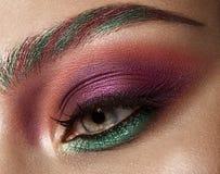 Съемка крупного плана женского глаза с красочным составом теней и ресниц глаз Стоковые Фотографии RF