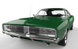 Съемка крупного плана зеленой ретро мышцы автомобильная весьма Стоковое Изображение RF
