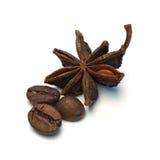 Съемка макроса анисовки звезды и кофейных зерен Стоковые Изображения