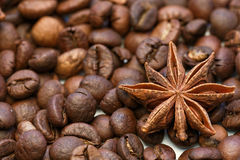 Съемка макроса анисовки звезды и кофейных зерен Стоковое Изображение RF