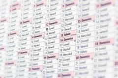Съемка макроса итальянского календаря стиля Стоковые Изображения RF