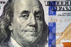 Съемка макроса 100 концов счета доллара США вверх стоковое изображение