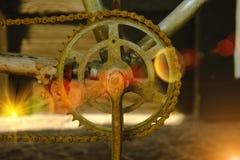 Съемка макроса некоторой старой ржавой цепи велосипеда Стоковое Изображение RF