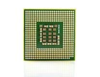 Съемка макроса процессора компьютера изолированная на белизне Стоковое фото RF