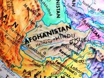 Съемка макроса фокуса Афганистана на карте глобуса для блогов перемещения, социальных средств массовой информации, знамен вебсайт Стоковые Изображения RF