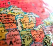 Съемка макроса фокуса Детройта Мичигана США на карте глобуса для блогов перемещения, социальных средств массовой информации, знам Стоковое Фото