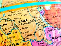 Съемка макроса фокуса Заира Африки на карте глобуса для блогов перемещения, социальных средств массовой информации, знамен вебсай Стоковое фото RF