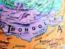 Съемка макроса фокуса Монголии на карте глобуса для блогов перемещения, социальных средств массовой информации, знамен вебсайта и Стоковое Изображение
