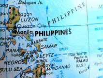 Съемка макроса фокуса Филиппин на карте глобуса для блогов перемещения, социальных средств массовой информации, знамен вебсайта и Стоковые Изображения