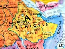 Съемка макроса фокуса Эфиопии Африки на карте глобуса для блогов перемещения, социальных средств массовой информации, знамен вебс Стоковое Изображение RF