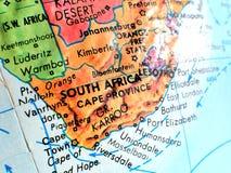 Съемка макроса фокуса Южной Африки на карте глобуса для блогов перемещения, социальных средств массовой информации, знамен вебсай Стоковое Изображение RF