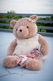 Съемка милого ребёнка с фиолетовым держателем пока спать и играть с большим плюшевым медвежонком на крыше/фокусируют на младенце  Стоковые Фотографии RF