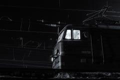 Съемка ночи промышленного двигателя поезда с зерном Стоковая Фотография