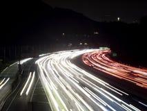 Съемка ночи светофоров скоростного шоссе Голливуда Стоковая Фотография RF