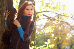 съемка парка девушки осени напольная Стоковые Изображения