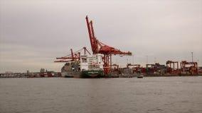 Съемка промышленного крана гавани морского транспорта moving акции видеоматериалы
