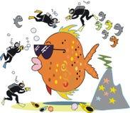 съемка рыб шаржа иллюстрация штока