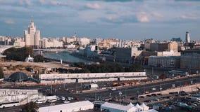 Съемка собора ` s базилика Святого сценарная панорамная города Москвы видеоматериал